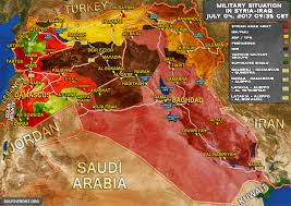 Syria World Map by Military Situation In Syria And Iraq On July 4 2017 Map Update