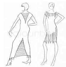 sketch of fashion model dress design by egyptian motives stock