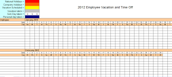 Excel Templates For Scheduling Employees 2012 Employee Vacation Tracking Calendar Template