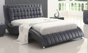 tufted black or white leather modern platform bed on chrome legs