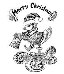 christmas stocks with gift package in zen doodle style black