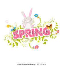 vector spring background easter template rabbit stock vector