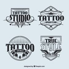 tattoo studio logotypes in vintage style vector free download