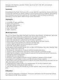 Psychology Resume Examples by Professional Psychiatric Technician Templates To Showcase Your
