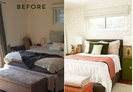 bedroom before and after before and after bedroom makeover with moss and coral accents