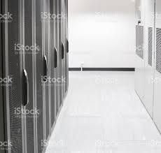 it comms room server racks and airconditioning stock photo