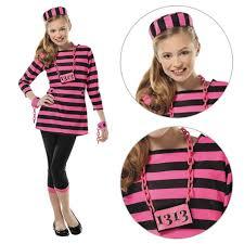 inmate halloween costume girls pink prisoner convict teen kids child fancy dress costume