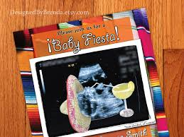 mexican themed baby shower invitation with ultrasound image