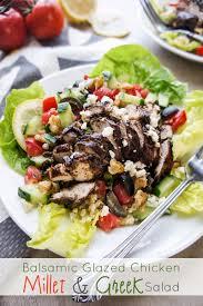 balsamic glazed chicken with a millet greek salad vitamin sunshine