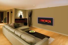 contemporary circular fireplace design with hanging glass mantel