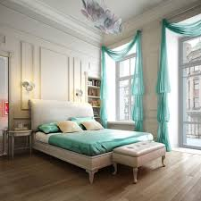 master bedroom decorating with turquoise colored curtains and
