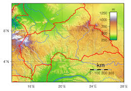 Physical Africa Map by Large Physical Map Of Central African Republic Central African