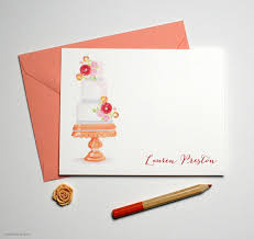personalized fancy birthday cake note cards mospens studio