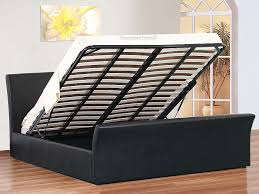 King Size Leather Sleigh Bed Amazing King Size Ottoman Bed Davinci Black Leather Ottoman