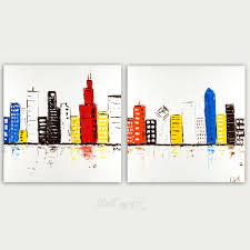 colorful city skyline painting modern art oil on canvas