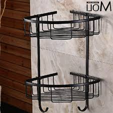 Bronze Bathroom Shelves Bathroom Corner Basket Rubbed Bronze Bath Shelf Dual Layer