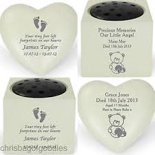 personalised remembrance baby child grave memorial vase ornaments