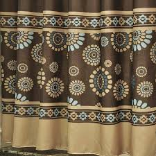 Brown Patterned Curtains Coffee Patterned Luxury Shower Curtains
