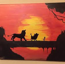 the lion king sunset canvas painting by babydollcraftz on etsy