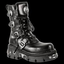 black biker style boots new rock m373 s4 black platform biker style buckle reactor sole