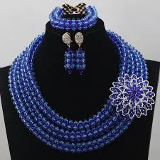 Costume Jewelry Unique Beaded Design Handmade Beaded Nigerian Wedding Jewelry Set Amazing Royal Blue