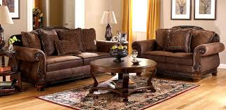 Distressed Leather Loveseat Furniture Amusing Living Room Design With Round Coffee Table And