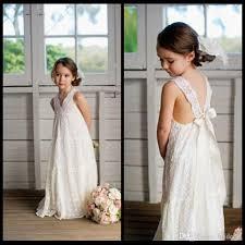 romantic v neck summer boho flower girls dresses floor length