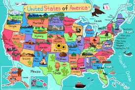 Map Of Usa With Hawaii by A Vector Illustration Of Usa Map In Cartoon Style Royalty Free