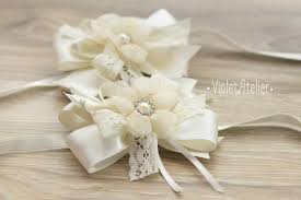 wedding corsages 2 wrist flower corsages lace ribbon wedding corsage bridesmaids