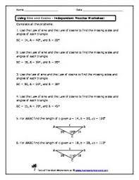 intermediate 2 area sine u0026 cosine rule worksheet mr