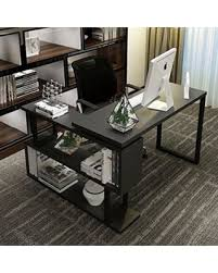 L Shaped Contemporary Desk Amazing Deal On Tribesigns Modern L Shaped Desk 55 Inch Rotating