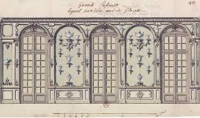 file design for the grand cabinet with decorated mirrors at the