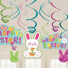 bunny decorations 12 x happy easter swirl hanging party decorations easter bunny