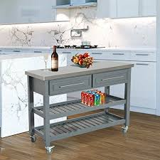 homcom country style kitchen island rustic rolling storage cart