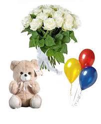teddy balloons of 21 white roses teddy balloons