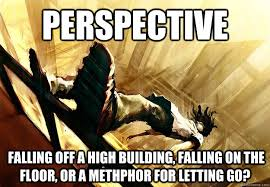 Perspective Meme - perspective falling off a high building falling on the floor or