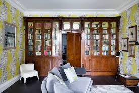 Home Library Design Uk Yellow Wallpaper In The Library Living Room Design Ideas