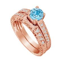engagement rings sets blue topaz engagement ring set gold diamond bridal rings