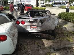 corvette car crash chevrolet corvette crash dealership miami 5 images photo