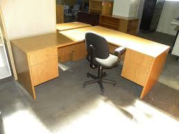 Used L Shaped Desk Used L Shaped Laminate Desk By Maverick Oak Finish