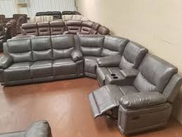 brand new gray shava leather recliner sectional furniture in