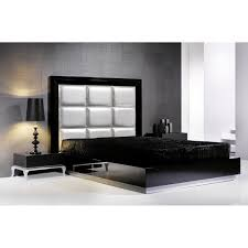 Platform Bed Frame With Headboard Black Glass Based Platform Bed Frame With Silver Leather