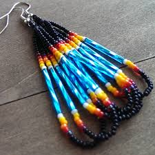 native american beaded earrings black and turquoise beadwork