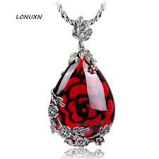 vintage necklace styles images 2 styles 925 silver natural semi precious stones inlay red jpg