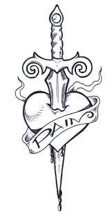 love heart dagger tattoo on arm