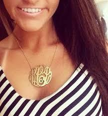2 Inch Monogram Necklace Monogram Necklace Gold Fancy Script U2013 The Purple Mermaid