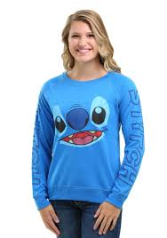 stitch big face sleeve print crew sweatshirt for juniors