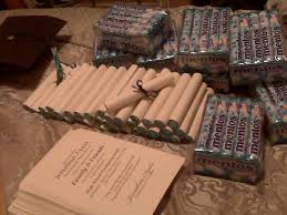 college graduation favors graduation favors thank you notes rolled up around mentos candy