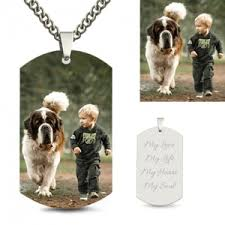 Personalized Dog Tags For Couples Photo Engraved Necklace