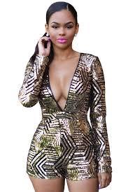 sleeve sequin jumpsuit fashion black gold sequin playsuit